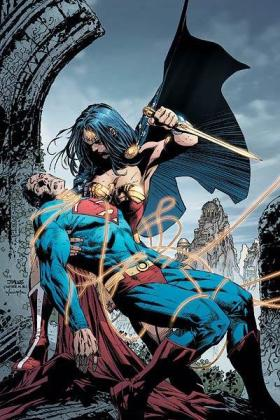 She's about to STAB Superman. So cool.