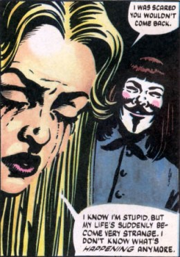 v for vendetta character essay evey V for vendetta is a british graphic novel written by alan moore and illustrated by david lloyd  the comics follow its title character and protagonist, v,  evey tells v her life story, which reveals that a global nuclear war in the late 1980s has since triggered the rise of england's fascist government,.