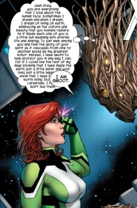 Jean Grey listening to Groot's thoughts.