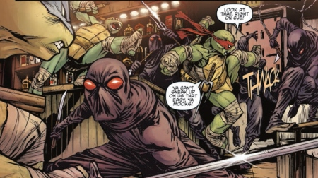 The Foot Clan member represents feelings, I think.