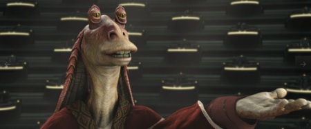 Now why didn't Jar Jar get a lightsaber? Jar Jar wants a lightsaber.