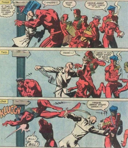 Bullseye once went crazy and started killing random people in the street hallucinating that they were all Daredevil.